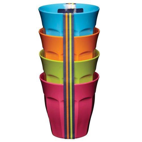 4pk Colourworks Melamine Tumblers - 225ml   Reusable Plastic Cups