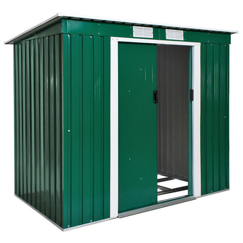 Shed with slanted roof green