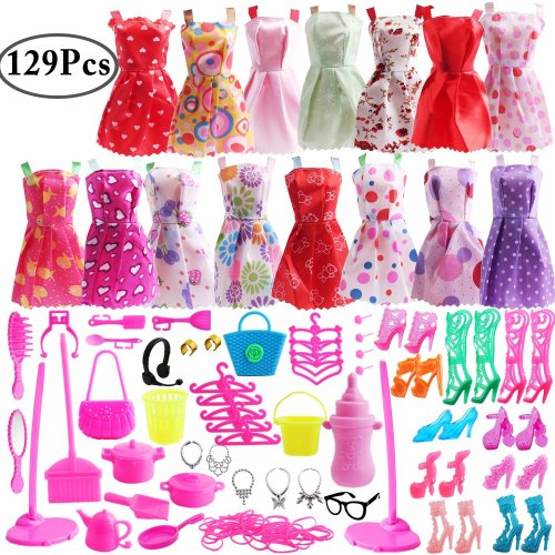 10 pcs Party Jewelry Necklace Earring Crown Bracelet For Barbie Doll