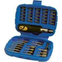 45 Piece Ratchet Screwdriver Bit & Socket Set -  45pce ratchet bit set socket silverline screwdriver 427611