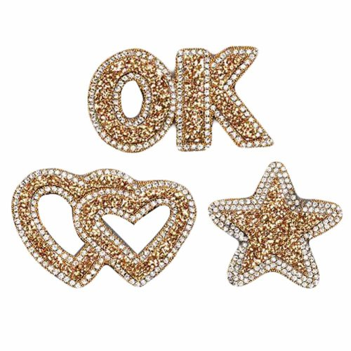 3Pcs Beaded Crystal Heart Badge Applique Patch Sew on Patch DIY Accessories