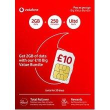 Vodafone £10 Big Value Pay as You Go Triple sim card including £10 credit