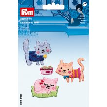 Prym Iron On Patch Set 4 Cat Theme Quality Motif Trimming Application