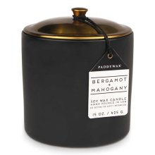 Paddywax Hygge 15oz Large Ceramic/Copper Double Wick Soy Candle Bergamot & Mahogany
