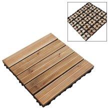 9 Wooden Floor Deck Tiles Slad Set Easy Locked For Garden Patio Decking Path