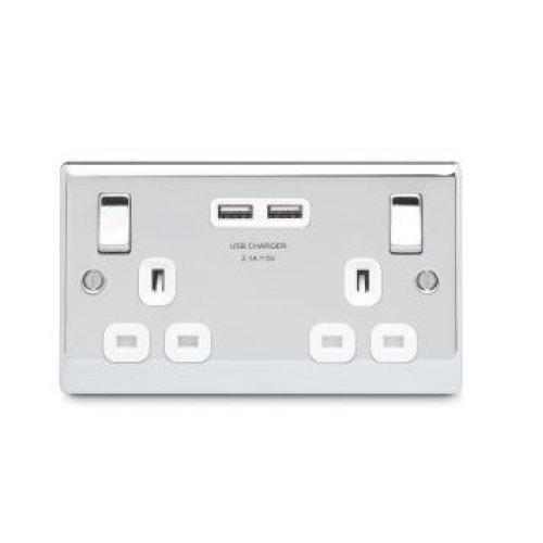 Masterplug 13 A 2 Gang Polished Chrome Switched Socket with 2 x USB Port - White Insert