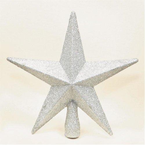 Christmas Decoration Tree Top 200mm Shatterproof Glitter Star - Silver