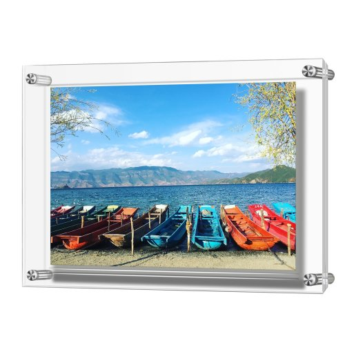 AMEITECH Acrylic Picture Frame, Double Panel Clear Wall Mount Picture Frames Holds 32 x 23 cm Pictures