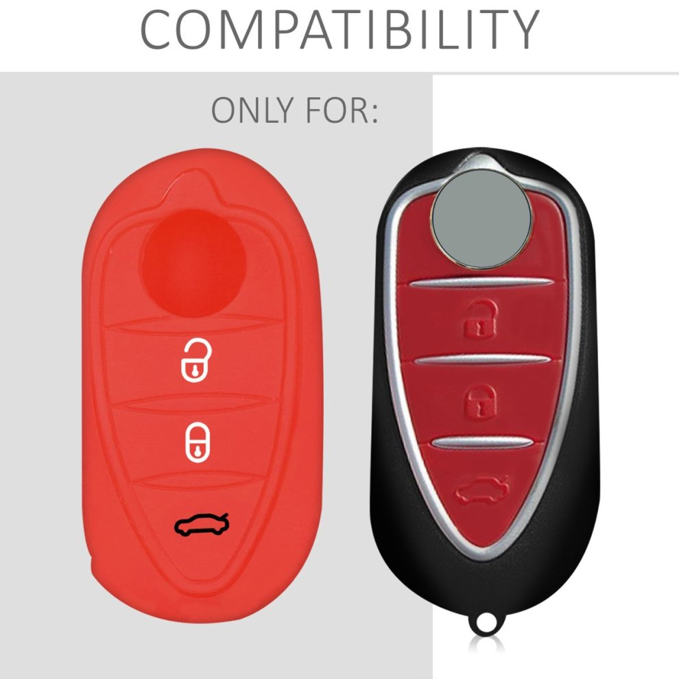 Silicone Protective Key Fob Cover for Alfa Romeo 3 Button Car Flip Key kwmobile Car Key Cover for Alfa Romeo Red