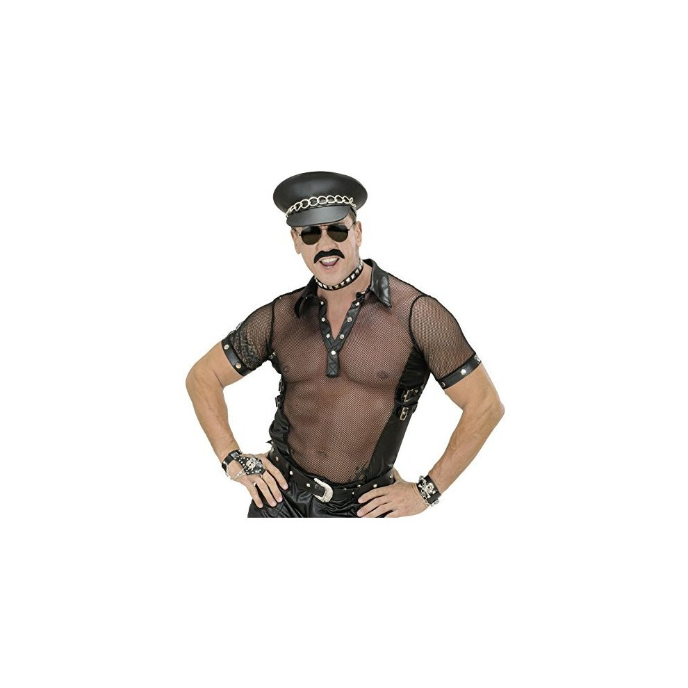 Mens Black Net Leatherlook T-Shirt Biker Village People Fancy Dress Costume S