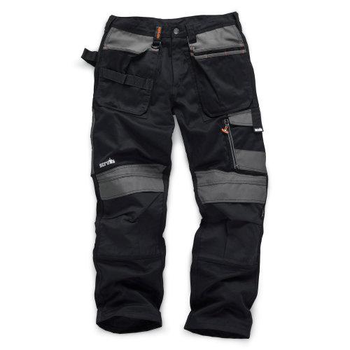 (30in Waist - 34in Leg - Long) Scruffs 3D Trade Hardwearing Black Work Trousers