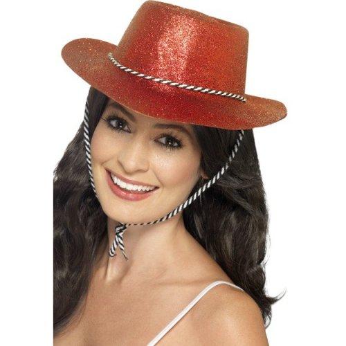Fancy Dress Accessory Womens Ladies Wild West Rodeo Cowboy Hat Red Glitter
