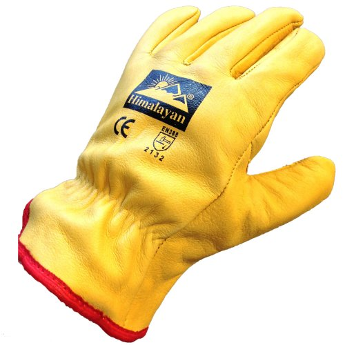 (Medium - Size 8) Himalayan H310 Fleece-Lined Leather Gloves   Thermal Work/Drivers Gloves PPE