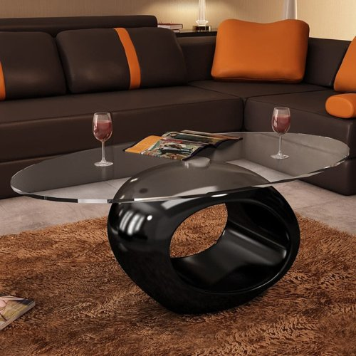 vidaXL Coffee Table Round Black High Gloss Glass Top Couch Side Tea Stand
