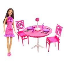 Barbie Doll Dining Room Gift Set, Brunette