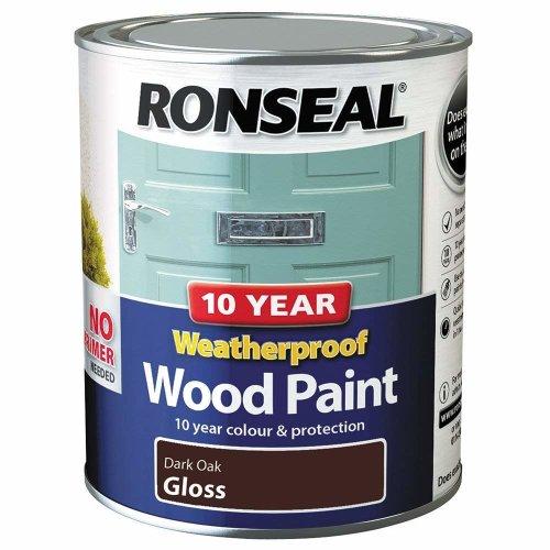 (Dark Oak Gloss) Ronseal Weatherproof No Primer Exterior Wood Paint 750ml