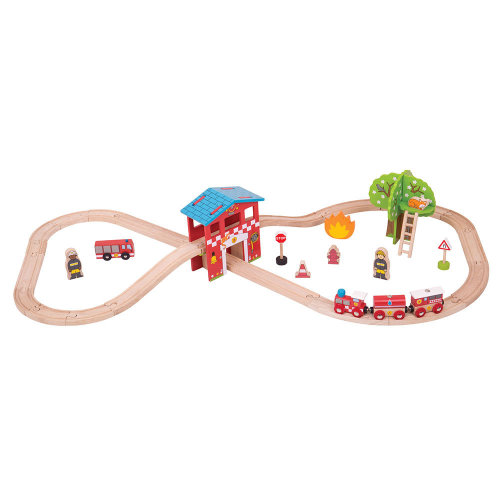 Bigjigs Rail Wooden Fire Station Train Set - 39 Play Pieces