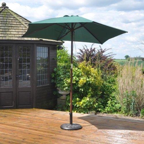 2.4m Wooden Garden Parasol 36mm Shaft & Pulley - Green