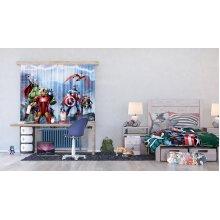 Marvel AG Design Avengers Kids Curtains 3D Photo Print - Parts FCSXL 438, Multi-Colour, 180 x 160 cm/71 x 63 inches