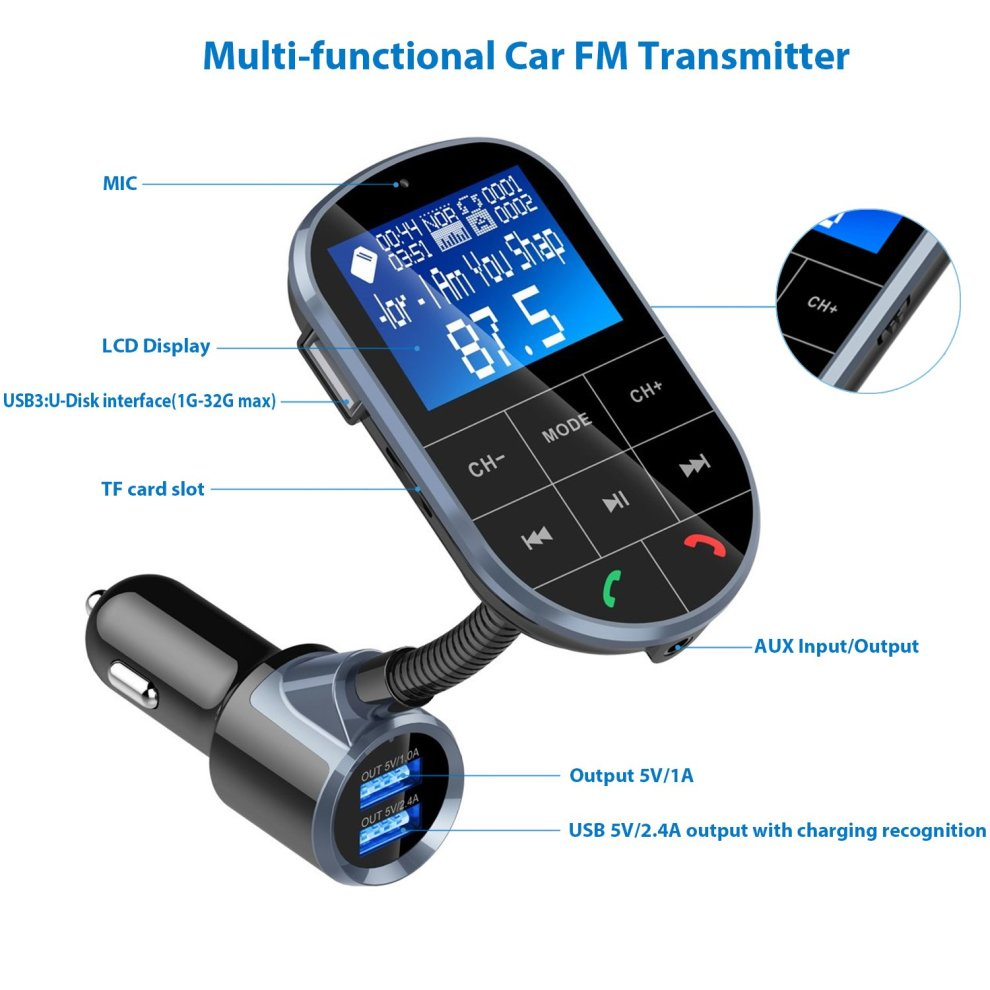 3.5mm Car Wireless LCD Display Auto MP3 FM Transmitter For Phone Radio Adapter