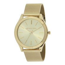 Michael Kors Ladies Slim Runway Watch Gold Mesh Bracelet Gold Dial MK3282