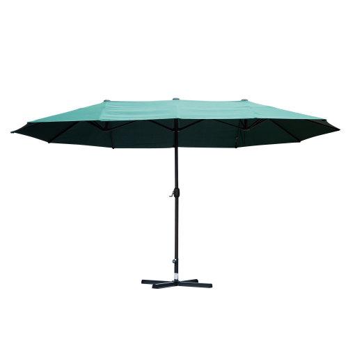 Outsunny Sun Umbrella Canopy Double-sided Crank Sun Shade Shelter 4.6M Green