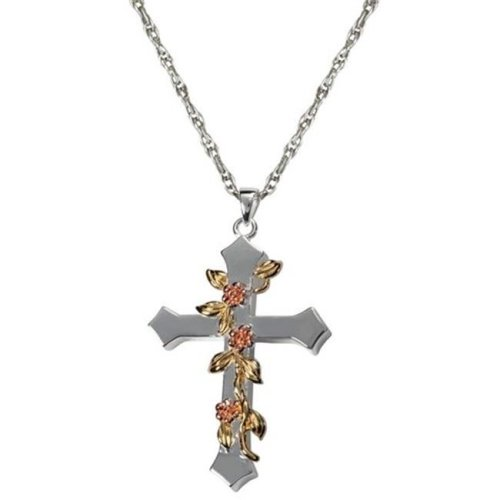 Memorial Gallery 3306wg Cremation Jewelry Rose Vine Cross 14K Solid White Gold Pendant
