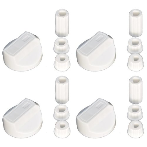 4 X New World Universal Cooker/Oven/Grill Control Knob And Adaptors White