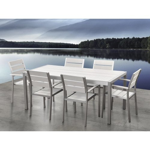 Aluminum and Poly Wood Outdoor Dining Set & 6 Chairs - Vernio