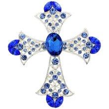 Fantasyard Sapphire Crystal Cross Wedding Pin & Pendant - Silver - 2.125 x 2.5 in.
