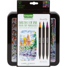 Crayola Signature Brush & Detail Dual-Tip Markers W/Tin-Assorted Colors 16/Pkg