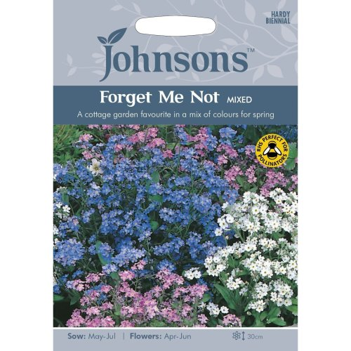 Johnsons Seeds - Pictorial Pack - Flower - Forget Me Not Mixed - 300 Seeds