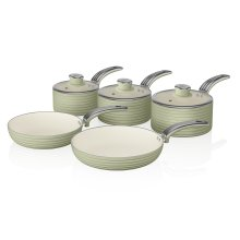 Swan Green Retro Non-Stick 5pce Pan Set, 3 Saucepans 16/18/20cm, 2 Frying Pans 20/28cm with Tempered Glass Lids & Compatible with Induction Hobs