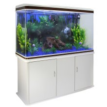 Aquarium Fish Tank Cabinet with Complete Set Up White Tank Blue Gravel