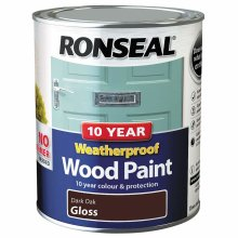 (Dark Oak Gloss) Ronseal Weatherproof No Primer Exterior Wood Paint 750ml