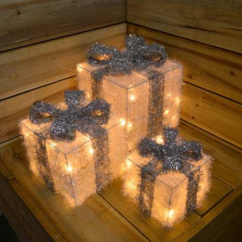3 Piece Warm White LEDs Battery Operated Silver Christmas Gift Boxes with Timer