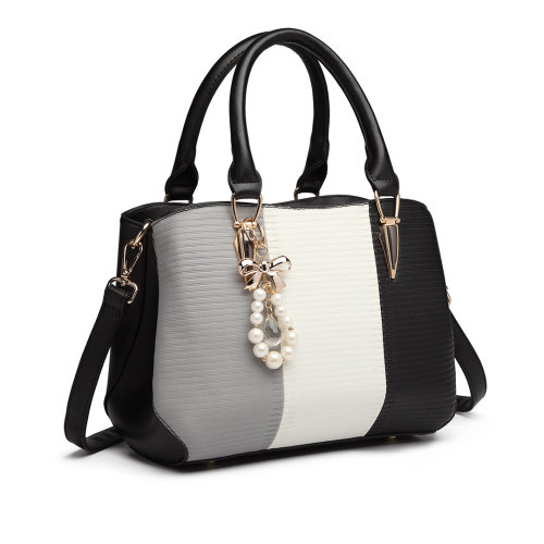 (Black) Miss Lulu Women's Striped Colour Block Bag