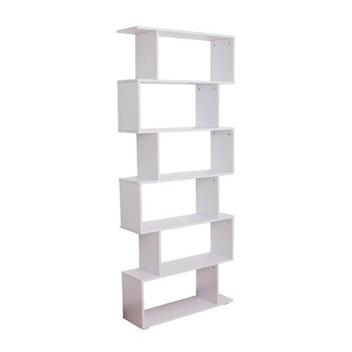 HOMCOM HOMCOM Storage Bookcase 6 Shelves Wood Bookshelf S Shape Home Office