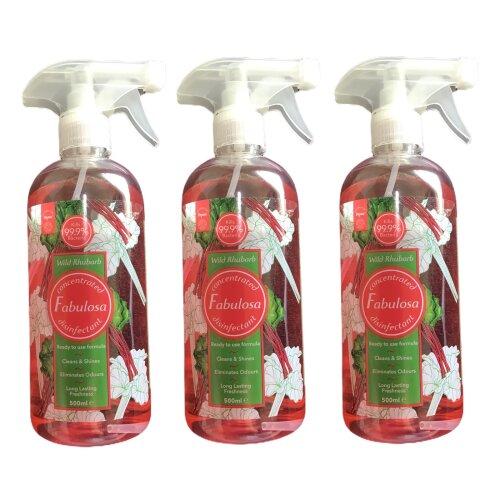 Fabulosa Disinfectant Spray Wild Rhubarb 500 ml 3 Bottles