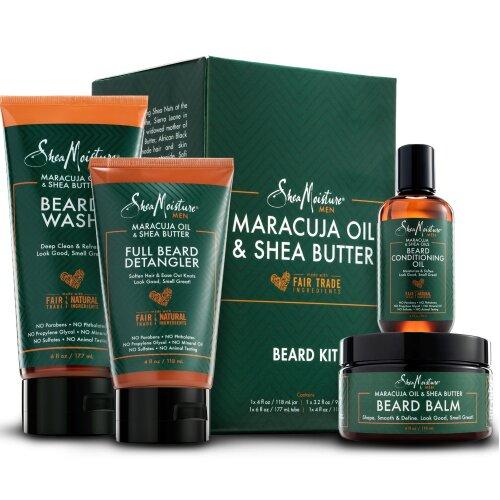 Shea Moisture Complete Beard Kit | All Natural Ingredients | Maracuja Oil & Shea Butter | Beard Balm | Beard Conditioning Oil | Beard Wash | Beard Det