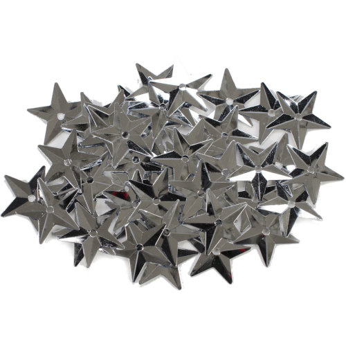 Star Sequins 18Mm 50/Pkg-Silver