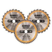 DeWalt DT1963-QZ Construction Circular Saw Blade 3 Pack 250 x 30mm x 24T/48T