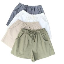 Women's cotton and linen beach loose sports and leisure shorts