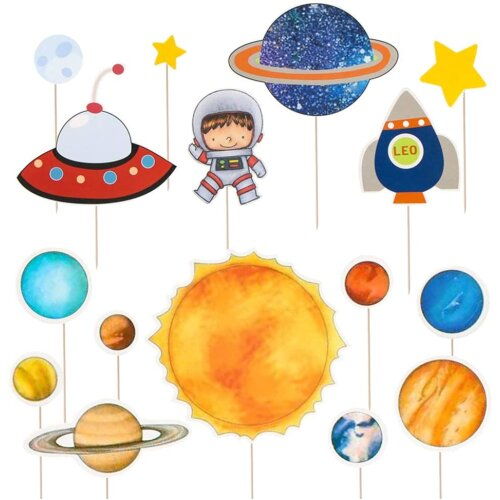 NUOBESTY Space Astronaut Cake Topper Rocket Cake Decor Solar System Cupcake Toppers for Kids Birthday Party,16 pcs