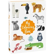 BIC My Colouring Box - Colouring Kit with 12 Markers/18 Colouring Pencils/6 Glitter Glues/1 Colouring Book and 36 Stickers