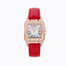 Luxury Ladies Dress Watch Luxury Diamond Dial Leather Strap