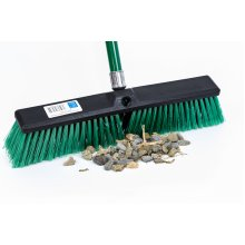 "Stiff Outdoor Yard Sweeping Brush Heavy Duty Garden Broom Sweeper with Hard Firm Bristles and Strong Metal Handle 18"" Wide Head"