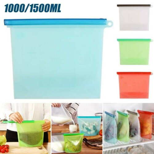 Reusable Vacuum Silicone Food Storage Bag Zip Container Seal Bags 1000ML/1500ML