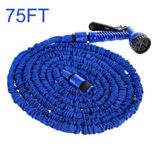 (Blue, 75FT) Heavy Duty Expandable Garden & Carwash Magic Hose Pipe Spray Gun
