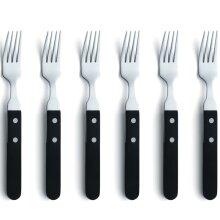 Amefa 6x Steak Fork Set Silver and Black Tableware Dining Kitchen Cutlery Fork